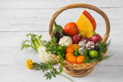 Basket with vegetables standing on a wooden table. Basket with vegetables standing on a white wooden table Stock Image