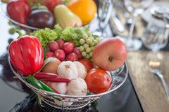A basket of vegetble and fruit Stock Photo