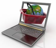 Basket of visit of shop with globe in a notebook Royalty Free Stock Image