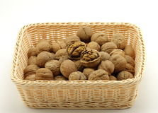 A basket of walnut and the walnut shell breaking Royalty Free Stock Image