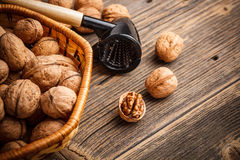 Basket of walnuts Royalty Free Stock Image