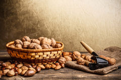 Basket of walnuts Royalty Free Stock Photography