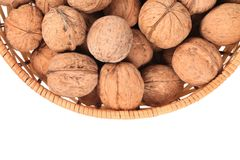 Basket of walnuts. Close up. Stock Photography