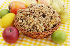 Basket with walnuts Stock Image