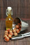Basket of walnuts and hazelnuts Stock Photo