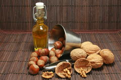 Basket of walnuts and hazelnuts Stock Photography