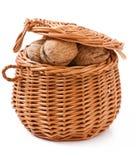 Basket with walnuts Stock Photos