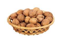 Basket with walnuts Royalty Free Stock Photo