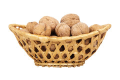 Basket with walnuts Stock Photos