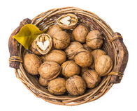 A basket with walnuts Royalty Free Stock Images