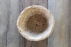 Basket weave of handicraft on old wooden. Stock Images