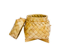 A basket weave pattern with palm leaves Royalty Free Stock Photo