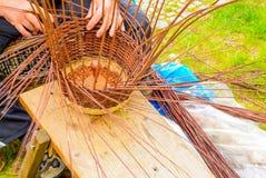 Basket weaver at work Stock Image