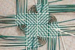 Basket weaving. On reed mat Thai handmade Royalty Free Stock Photo