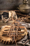 Basket weaving items on table Stock Photos