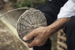 Basket weaving. Traditional basket weaving. Sardinia (Italy Stock Photos