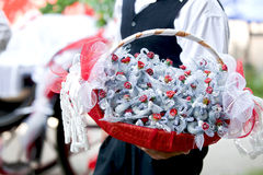 Basket with wedding candies Stock Photo