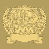 Basket of wheat bakery products. vector graphics vector illustration