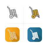 Basket on wheels icon. Flat design, linear color styles.  vector illustrations. Royalty Free Stock Image