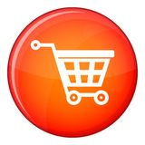 Basket on wheels icon, flat style Stock Photography