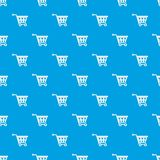 Basket on wheels pattern seamless blue Stock Photography