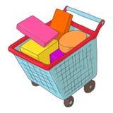 Basket on wheels with shopping icon, cartoon style. Basket on wheels with shopping icon in cartoon style isolated on white background. Purchase symbol royalty free illustration