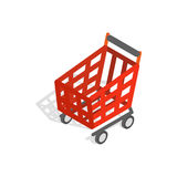 Basket on wheels for shopping icon Stock Images