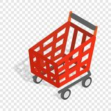 Basket on wheels for shopping isometric icon Stock Images