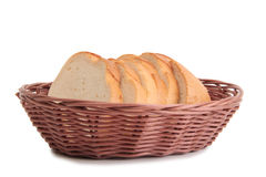 Basket whit bread on white Royalty Free Stock Photography