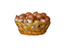 Basket with white and brown onions stock image