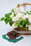 Basket of white lilac with lace with marshmallow chocolate Stock Images