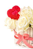 Basket of white roses with heart Stock Photography
