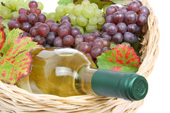 Basket with white wine and grapes Royalty Free Stock Photography
