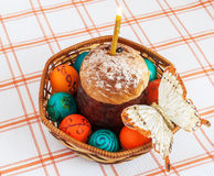 Easter eggs and and cake. Stock Photography
