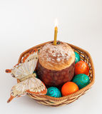 Easter eggs and and cake in basket Stock Photos