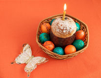 Easter eggs and and cake in basket Royalty Free Stock Image