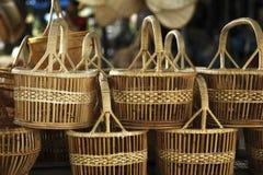 Basket wicker is Thai handmade. Basket wicker is Thai handmade at Suphanburi near bangkok, Thailand royalty free stock image