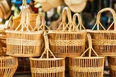 Basket wicker is Thai handmade. At Suphanburi near bangkok, Thailand royalty free stock photo