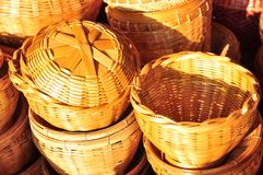 Basket wicker is Thai handmade. it is woven bamboo texture for background and design. Traditional Thai woven straw texture. Design, detail, furniture, hand stock photo