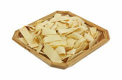 Basket of Wide Egg Noodles Royalty Free Stock Image