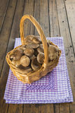 Basket with wild oyster mushrooms Stock Images