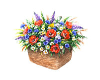 Basket with Wildflowers Stock Images