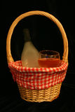Basket of Wine. Wine in a bottle and glass inside a basket Stock Images
