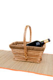 Basket and wine Stock Photography