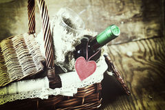 Basket with wine love heart Stock Photo