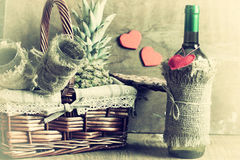 Basket with wine Valentine`s Day Royalty Free Stock Photography