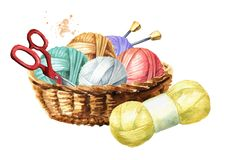 Free Basket With Balls Of Wool, Scissors, Knitting Needles And Skein Of Yarn. Manual Knitting Concept. Watercolor Hand Drawn Stock Photos - 151510333