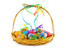 Free Basket With Easter Eggs Stock Image - 8860471