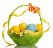 Basket With Easter Eggs, Butterfly And Ribbon On Handle, Isolate Royalty Free Stock Image
