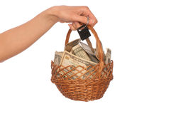Basket With Money Stock Photo